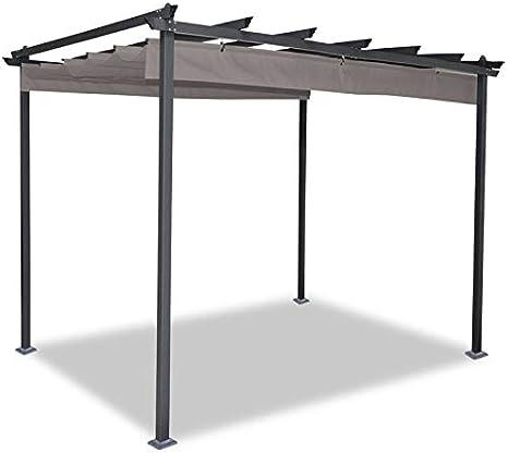 idmarket – Pergola tejado retráctil Topo 3 X 4 M cenador 4 patas ...
