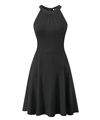 BIKATU Women's Halter Dress Sleeveless Summer Casual Sundress Black ()