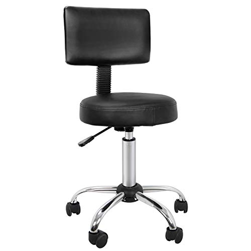 ZENY Beauty Salon Stool Chair with Back Height Adjustable Rolling Hydraulic Swivel Drafting Stool Home Office Desk Chair with Backrest (Pack of 1)