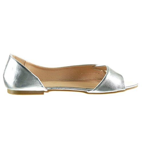 Angkorly - Scarpe da Moda sandali aperto sexy donna tanga fibbia d'oro Tacco a blocco 1 CM - Argento