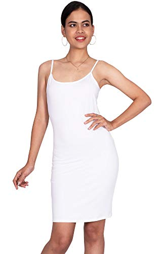 (KOH KOH Womens Sexy Spaghetti Strap Sleeveless Tight Fitted Bodycon Clubwear Nightgown Undergarment Stretchy Cami Knee Length Camisole Slip Midi Dress, Ivory White 3XL 22-24)