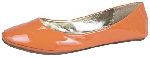 WOMENS PATENT MATT BALLET PUMPS FLATS SHOES LADIES GIRLS COMFORTABLE BALLERINAS FAUX LEATHER size 3 - 8 Orange X8LkD7