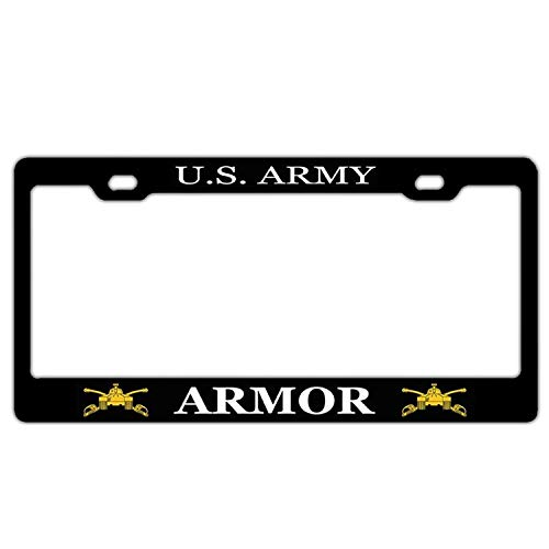 U.S.Army Armor License Plate Frame Holder, Customized Black Aluminum Metal License Plate Cover, Auto Car Tag Frame for US Standard
