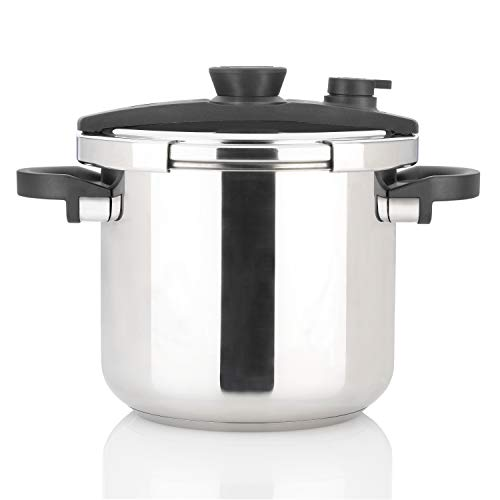 Zavor EZLock 7.4 Quart Dual-Setting Pressure Cooker with Universal Locking Mechanism and Accessories - Polished Stainless Steel (ZCWEZ03)