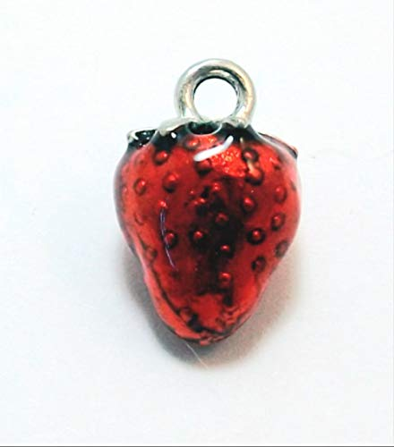 One (1) Pewter Hand Painted Red Enameled Strawberry Charm - 0831 for Jewelry Making Bracelet Necklace DIY Crafts ()