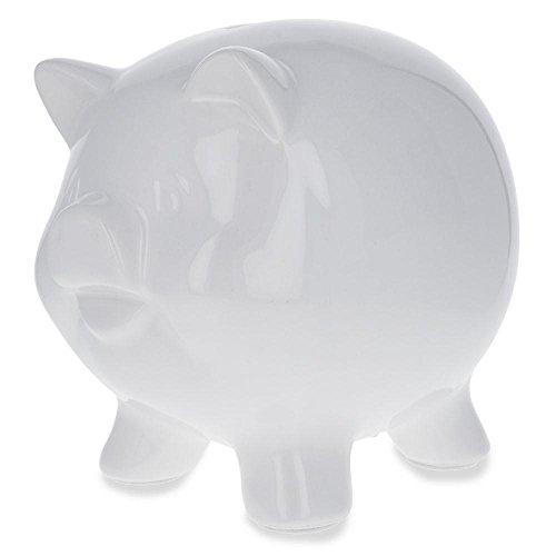 - BestPysanky Blank Unpainted White DIY Ceramic Piggy Bank 5.75 Inches