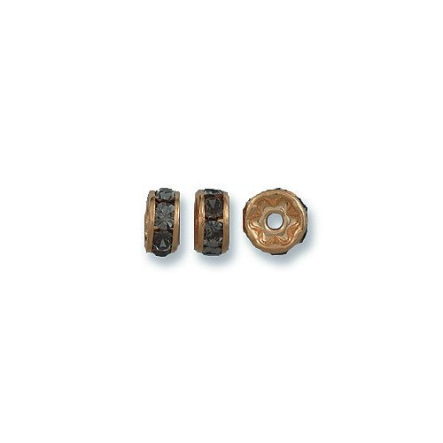 - Preciosa 36-Piece Rhinestone Rondelle Beads, 6mm, Black Diamond