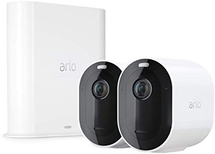 Arlo Pro 3 – Wire-Free Security 2 Camera System | 2K with HDR, Indoor/Outdoor, Color Night Vision, Spotlight, 160° View, 2-Way Audio, Siren | Works with Alexa | (VMS4240P) (Renewed)