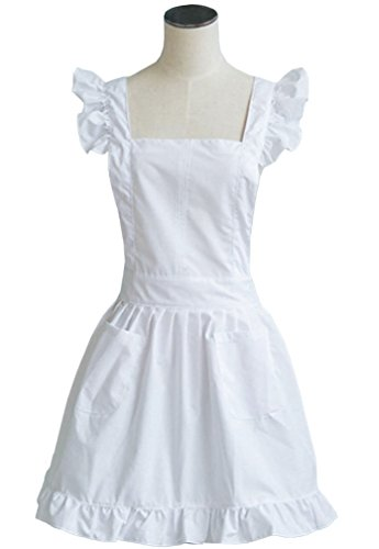 LilMents Petite Maid Ruffle Retro Apron Kitchen Cooking Cleaning Fancy Dress Cosplay Costume (White) -