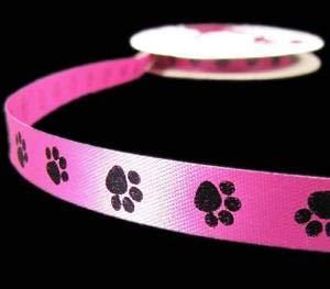 - 5 Yds Pink Black Pawprint Paw Print Dog Cat Pet Acetate Ribbon 9/16