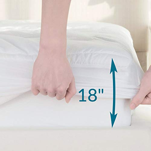 Mattress Pad Queen Size Hypoallergenic Antibacterial Breathable seriously soft Quilted Mattress Protector Fitted piece Mattress Cover White by Bedsure