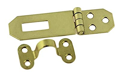 "Solid Brass Decorative Hasp_Flat Back_3-3/4"" x 3/4""_ Antique Modern Furniture Drawers Cabinet Doors Chest Box Trunk Lids Padlock + Free Bonus (Skeleton Key Badge) DL-804PB"