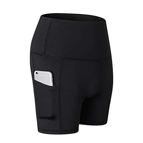 ZEFOTIMWomen's High Waist Yoga Short Abdomen Control Training Running Yoga Pants(Black,Large)