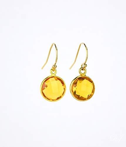 Citrine Quartz earrings, November Birthstone Earrings, dangle earrings, bridesmaid earrings gemstone ()