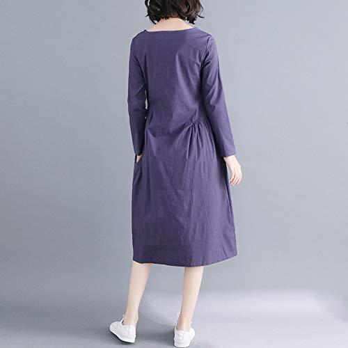Grande Mujer Vestido Bolsillo y Algodón Vestido Color sólido Vestido Largo Tallas Larga Azul Manga Mujer Suelto Playa 2018 para Lino Mujer DOGZI RgAdwgq