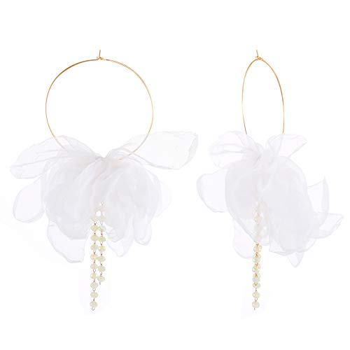 (FAMARINE Elegant Chiffon Fabric Flower Petals Pendant Hoop Earrings Gold Hoop with Beads for Women Jewelry Gift, White)