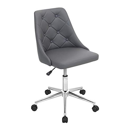 WOYBR OFC GY Pu, Foam, Chrome Marche Office Chair, 24Lx22.75Wx35H, Grey
