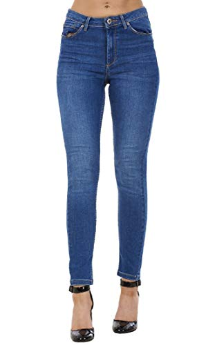 exfaMouSstore Ladies Pants Stretch Denim Blue Mid Rise Womens Pockets Ankle Skinny Jeans