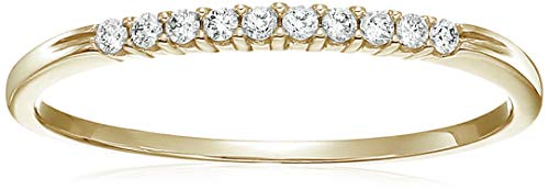 1/10 ctw Petite Diamond Wedding Band in 10K Yellow Gold In Size 6.5 - Wide Diamond Band