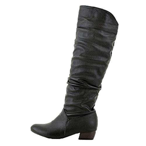 (Women's Winter Knee High Boots - Fashion Party Sexy Thigh High Tube Flat Heels Ruched Riding Long Boots (Black, US:11))