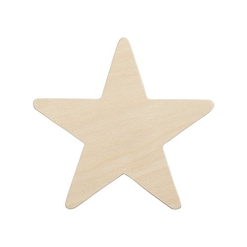 Wood Star 3-3/4 inch, Natural Unfinished Wooden Star Cutout Shape (3-3/4