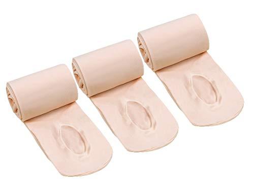CHUNG Little Big Girls Women 80D Convertible Transition Dance Tight Ultra Soft Elastic 3 Pack, Ballet Pink, 3-6Y