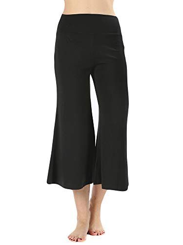 The Lovely Women's Knit Capri Culottes Gaucho Wide Leg Pants (Black, M)