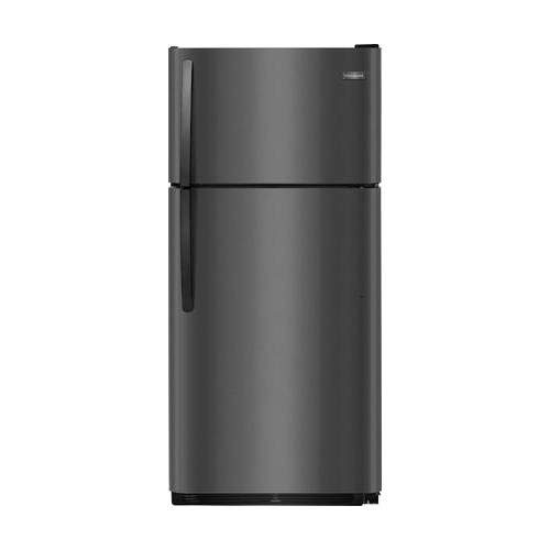 (Frigidaire FFTR1821TD 30 Inch Freestanding Top Freezer Refrigerator with 18 cu. ft. Total Capacity in Black Stainless Steel)
