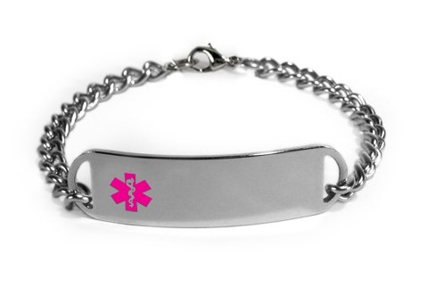 MIGRAINES Medical ID Alert Bracelet with Embossed emblem from stainless steel. D-Style, premium series.