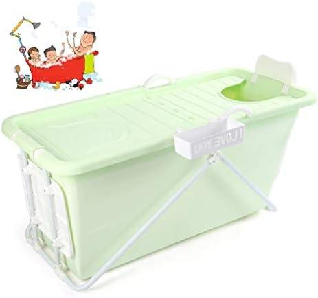 折りたたみバスタブ GYF 折りたたみ大人用浴槽 ベビープール ポータブルバスタブ 家庭用大型ポータブル浴槽 プラスチック ふた付き 2色大人ベビー用 バスタブ (Color : Green)
