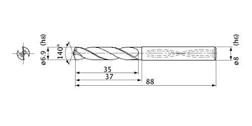 6.9 mm Cutting Diameter 1.3 mm Point Length 3 Hole Depth Mitsubishi Materials MVS0690X03S080 Solid Carbide Drill Internal Coolant 8 mm Shank Diameter