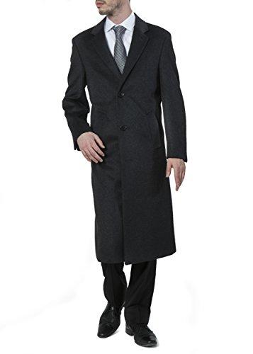 Adam Baker Men's Single Breasted Charcoal (40812) Luxury Wool Full Length Topcoat, Size 44 Short by Adam Baker