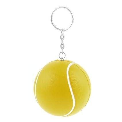 Amarillo elástica Espuma pelota de tenis Decoración llavero ...