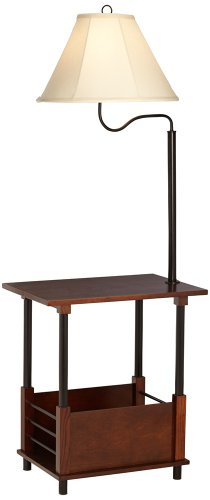 Side tables with lamps attached for Leick swing arm floor lamp with wood end table