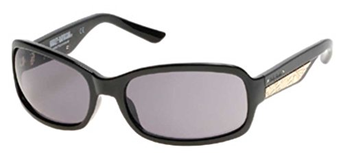Harley-Davidson Women's Metal Plaque Sunglasses, Shiny Black Frame & Smoke Lens