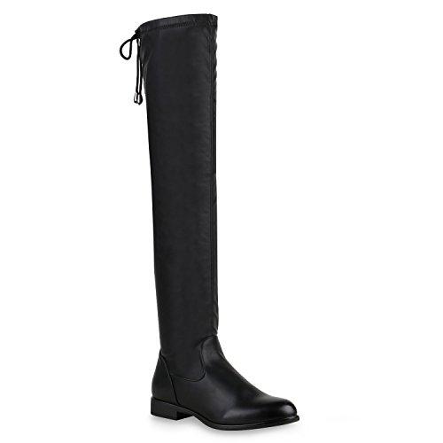 Stiefelparadies Damen Stiefel Overknees Flandell Schwarz Black
