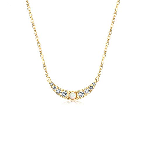 Fettero Opal Crescent Moon Necklace,Women Dainty CZ Moon Pendant Necklaces for Women (Opal Moon)