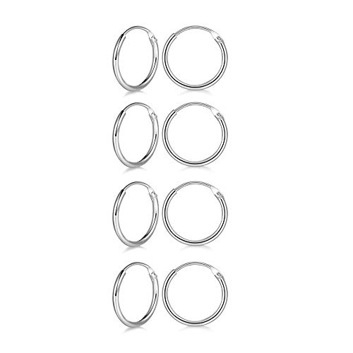 4 Pairs Sterling Silver 10mm Cartilage Small Hoop Earrings Set Hypoallergenic 14K White Gold Plated Endless Helix Tragus Earrings Nose Lip Rings ()