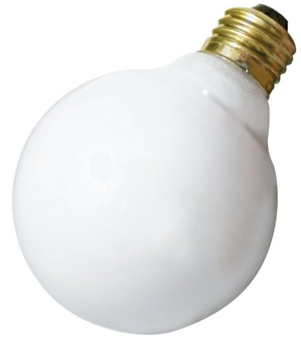 Satco 40G25/W Incandescent Globe Light, 40W E26 G25, Gloss White Bulb [Pack of 12]