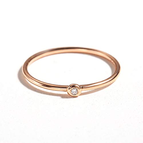 Carleen 18k Solid Rose Gold Stackable 0.01ct Diamond Ring Band Women Girls (6)