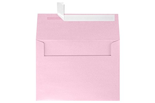 A7 Invitation Envelopes w/Peel & Press (5 1/4 x 7 1/4) - Rose Quartz Pink Metallic (50 Qty) | Perfect for Invitations, Announcements, Sending Cards, 5x7 Photos | Printable | 80lb Paper | 5380-04-50