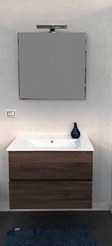 Arizona Mobile da Bagno sospeso design moderno 75cm con lavabo completo specchio e luce