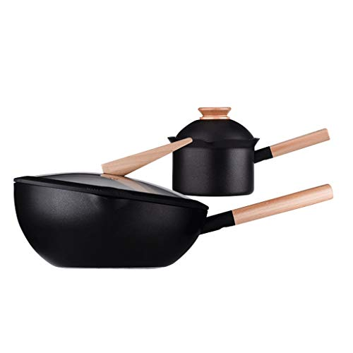 - Cookware Set Induction Cooker Gas Stove Non-stick Pan Less Smoke Flat Bottom Cooking Pot Broth Stew 2 Piece Combination (Color : Black, Size : Caliber: (30cm+16cm))