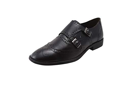 uine Leather Black Double Monk Strap Wingtip Brogues Formal Dress Shoes ()