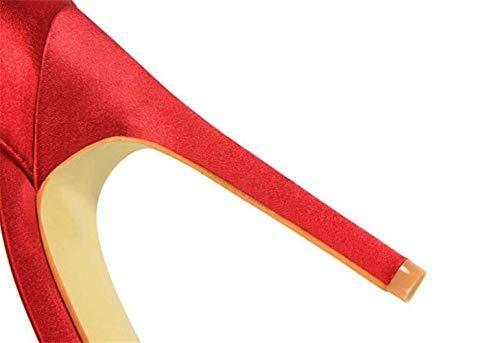 Sposa spillo Verde fibbia a EU37 Rosso Tacco Dimensione Raso tacco Scarpe a Colore Sandali con Tacco Donna Peep Congshua con Toe Scarpe Donna spillo femminili p4w1fTcPWq