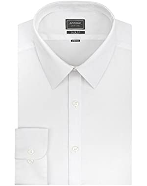 Arrow Men's Stretch Slim Fit Textured Solid Point Collar Dress Shirt!