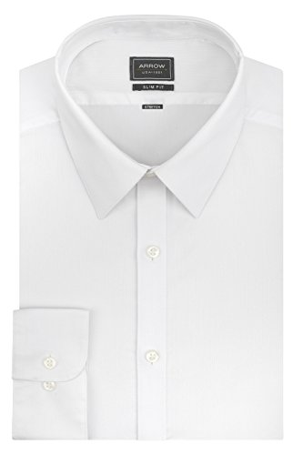 Arrow Men's Stretch Slim Fit Solid Point Collar Dress Shirt, White, Medium/15