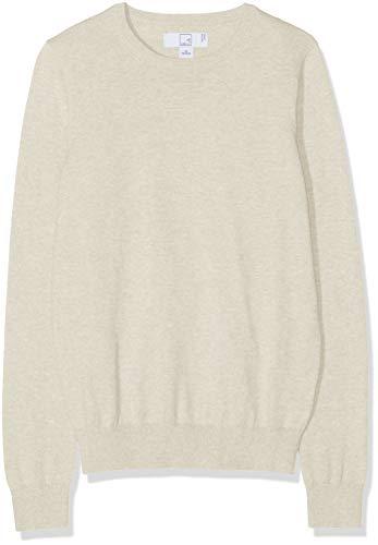 MERAKI Women's Cotton Crew Neck Sweater,  Beige (Linen), XS (US 0-2)