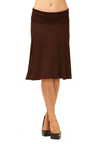 Red Hanger Womens Basic Solid Stretch Fold-Over Flare Midi Skirt (Brown-M)
