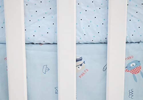 Malak Baby Crib Bedding Set 3 Pieces Blue Elephant//Dog//Cat//Bear Pirates Boys /& G